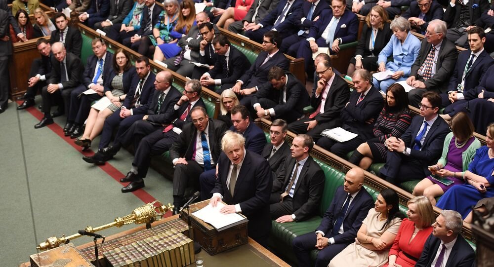 Britain's Prime Minister Boris Johnson speaks during the debate on the Queen's Speech in the House of Commons Chamber, in London, Britain December 19, 2019. ©UK Parliament/Jessica Taylor/Handout via REUTERS THIS IMAGE HAS BEEN SUPPLIED BY A THIRD PARTY.