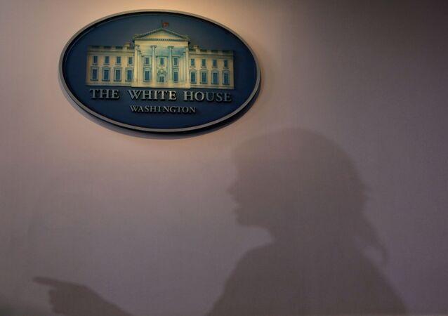 White House senior adviser Kellyanne Conway speaks to members of the news media