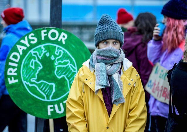 Swedish environmental activist Greta Thunberg attends a climate strike of the Fridays For Future movement outside the Swedish parliament Riksdagen in Stockholm, December 20, 2019.