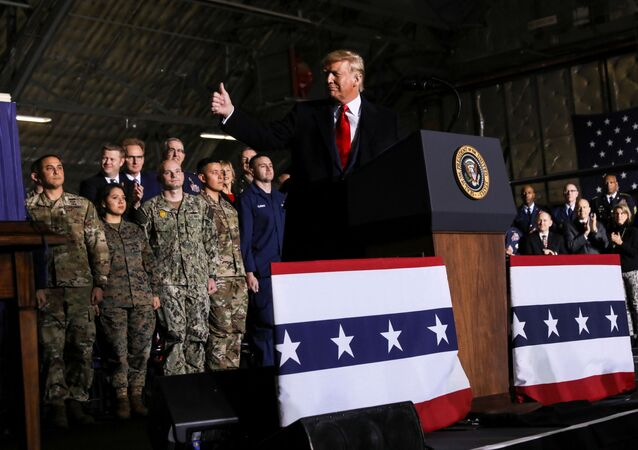 U.S. President Donald Trump gives a thumbs up at a signing ceremony on the National Defense Authorization Act for Fiscal Year 2020 at Joint Base Andrews, Maryland, U.S. December 20, 2019.