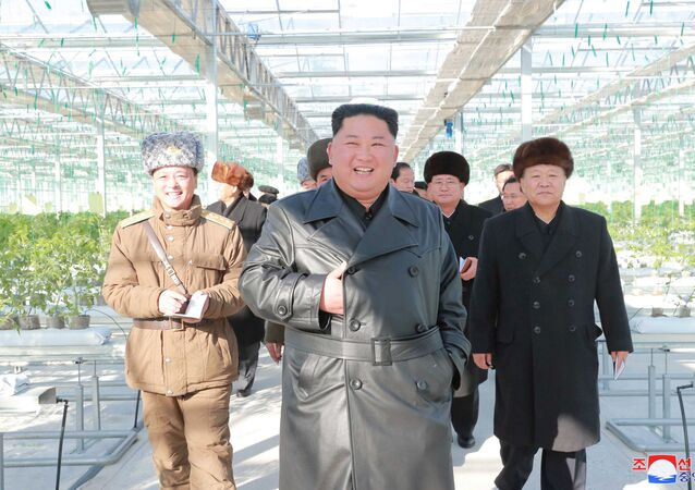North Korean leader Kim Jong Un visits a vegetable greenhouse farm and tree nursery in Jungphyong area in Kyongsong County, North Hamgyong Province, North Korea, in this undated picture released by North Korea's Central News Agency (KCNA) on December 4, 2019.
