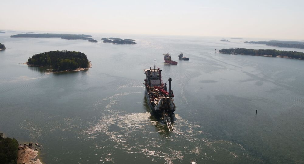 Allseas pipe-lying vessel, lays Balticconnector pipeline in Gulf of Finland