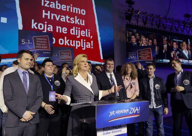 Croatian President and presidential candidate Kolinda Grabar-Kitarovic