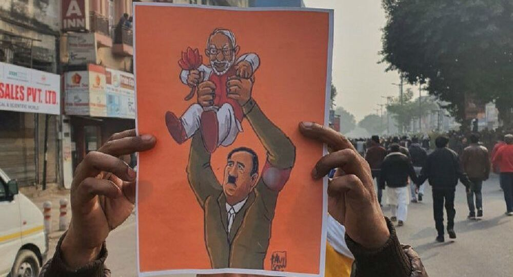 A poster with Modi and Hitler together