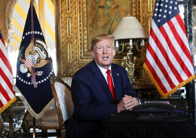 U.S. President Donald Trump speaks to the media after participating in a video teleconference with members of the U.S. military at Trump's Mar-a-Lago resort in Palm Beach, Florida, U.S., December 24, 2019