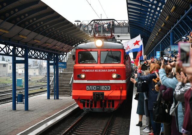 Arrival of Tavria passenger train in Crimea