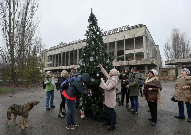 Former residents of Pripyat located near the Chernobyl Nuclear Power Plant decorate a Christmas tree, which was installed in the main square of the ghost town for the first time since 1985, in Pripyat, Ukraine December 25, 2019
