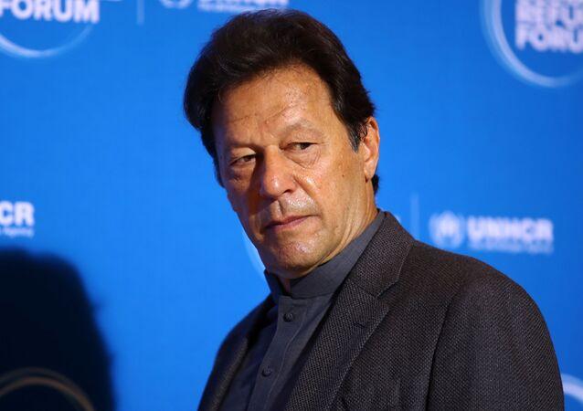 Pakistan's Prime Minister Imran Khan arrives for the Global Refugee Forum at the United Nations in Geneva, Switzerland, December 17, 2019