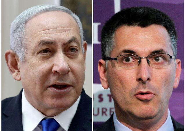 A combination picture shows Israeli Prime Minister Benjamin Netanyahu in Jerusalem November 17, 2019 and Likud party member Gideon Saar delivering a speech in Brussels, Belgium November 16, 2010.