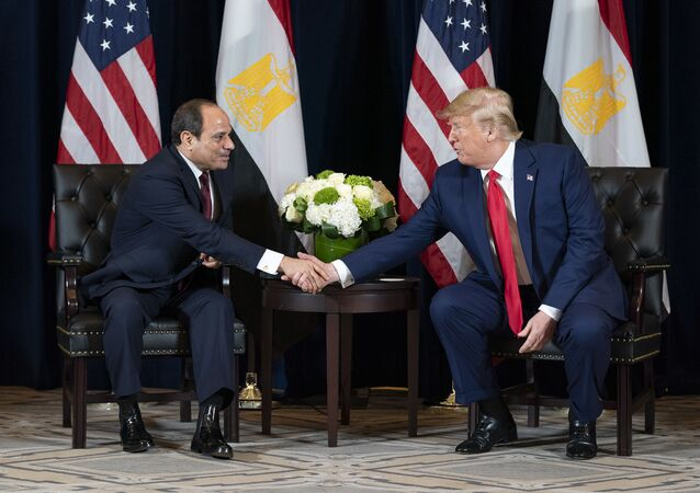 President Donald J. Trump participates in a bilateral meeting with the President of the Arab Republic of Egypt Abdel Fattah el-Sisi