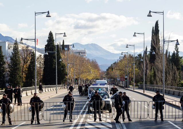 Police near the parliament in Podgorica, Montenegro