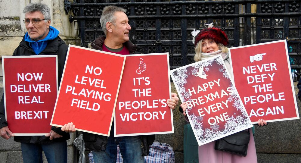 Pro-Brexit demonstrators hold signs outside the Houses of Parliament in London, Britain, December 17, 2019