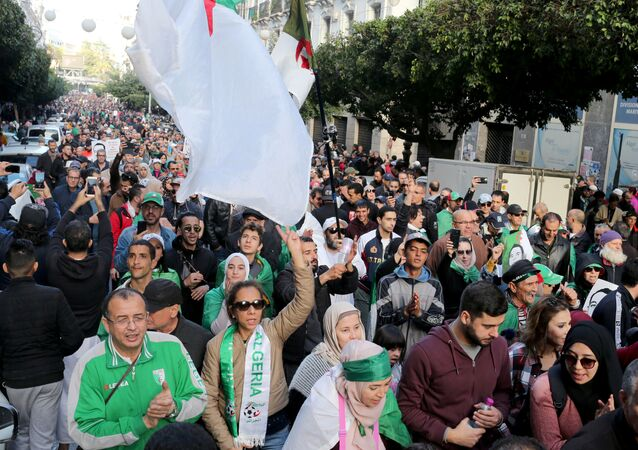Demonstrators shout slogans during an anti-government rally in Algiers, Algeria December 27, 2019.