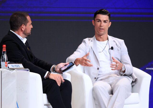 Soccer Football - Dubai Globe Soccer Awards - Madinat Jumeirah Resort, Dubai, United Arab Emirates - December 28, 2019   Juventus' Cristiano Ronaldo during a press conference REUTERS/Satish Kumar Subramani