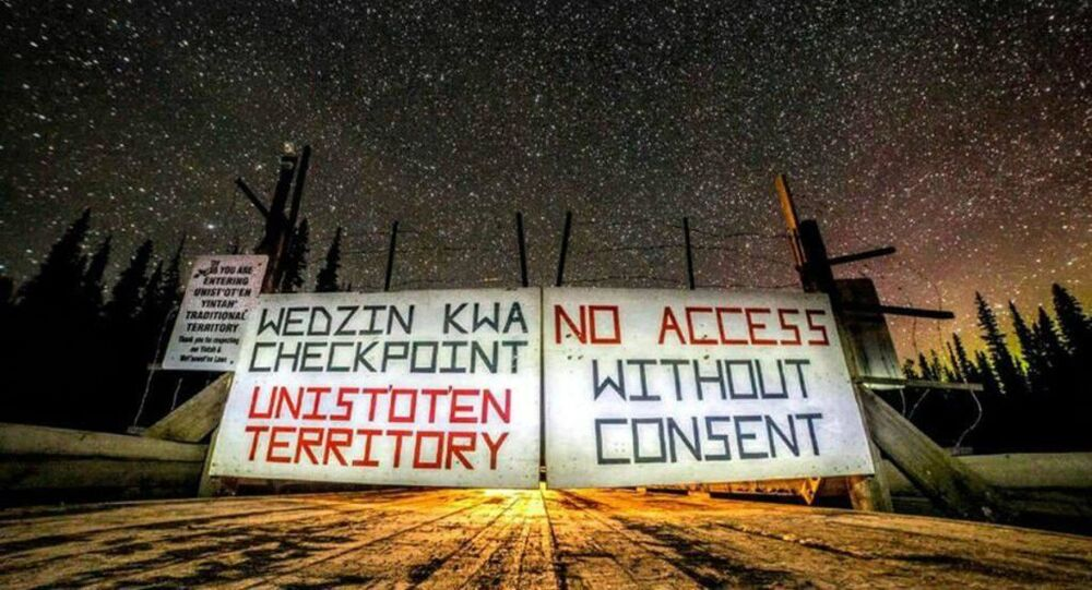 Blockade at the entrance to the Coastal GasLink pipeline, where Indigenous groups refuse to relinquish their land without consent.