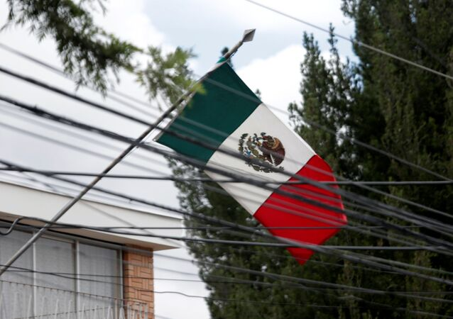 The Mexican flag is seen at its embassy in La Paz, Bolivia 26 December 2019