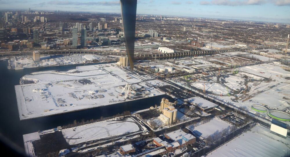 Snow covers the building site of tech company Sidewalk Labs' smart-city as seen from a landing commuter plane in Toronto, Ontario, Canada December 6, 2019.