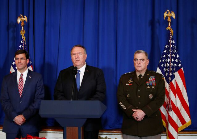 U.S. Secretary of State Mike Pompeo speaks about airstrikes by the U.S. military in Iraq and Syria, at the Mar-a-Lago resort in Palm Beach, Florida, U.S., December 29, 2019