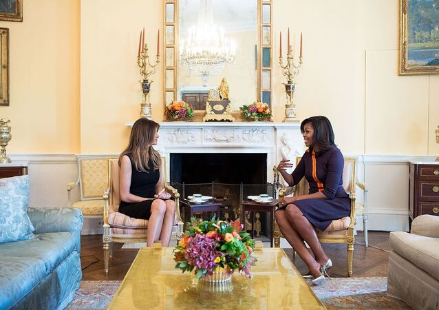 Melania Trump with Michelle Obama at the White House