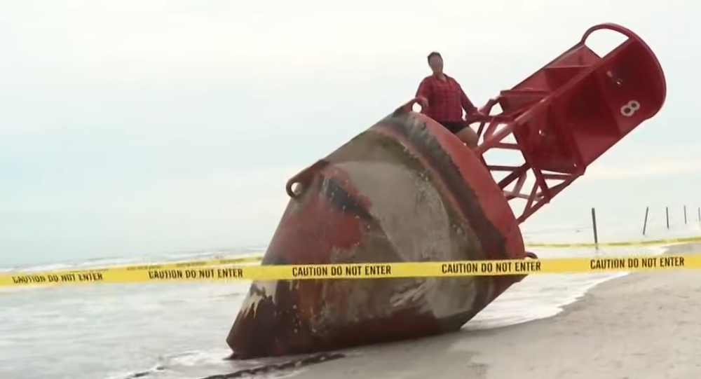 Big red buoy missing from South Carolina for 2 years beached in Florida