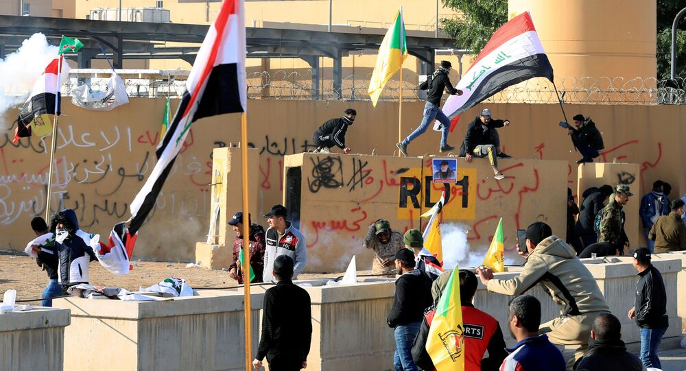 Protesters Outside the US Embassy in Baghdad