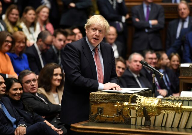 Britain's Prime Minister Boris Johnson speaks during a lawmakers meeting to elect a speaker, in London, 17 December 2019.