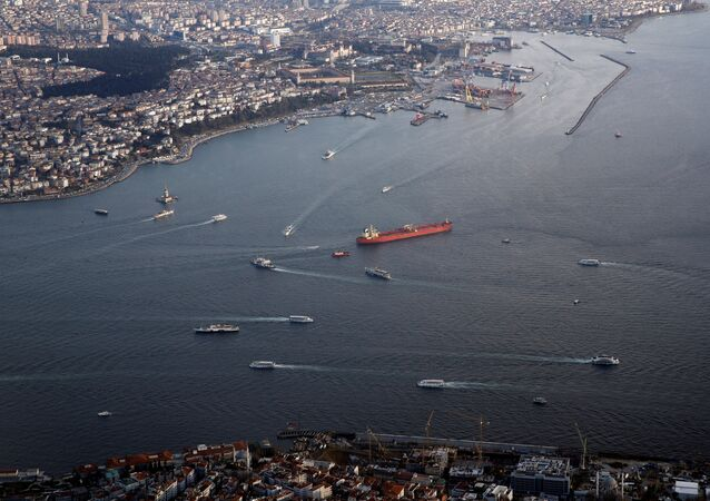 Haydarpasa port and southern entrance of the Bosphorus strait are pictured through the window of a passenger aircraft over Istanbul