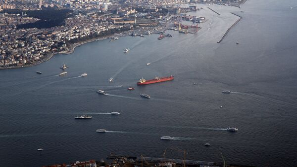 Haydarpasa port and southern entrance of the Bosphorus strait are pictured through the window of a passenger aircraft over Istanbul - Sputnik International