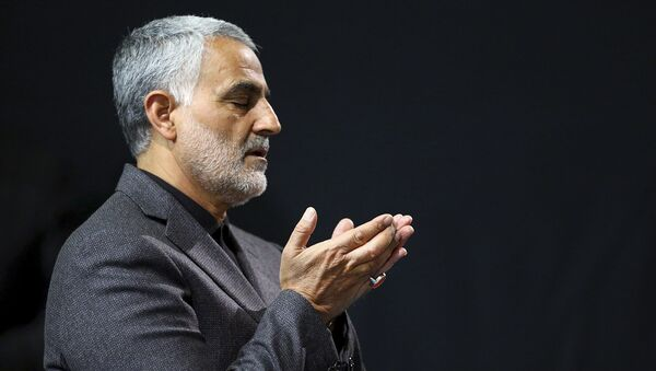 In this photo, released by an official website of the office of the Iranian supreme leader, the commander of Iran's Quds Force, Qassem Soleimani, prays in a religious ceremony at a mosque in the residence of Supreme Leader Ayatollah Ali Khamenei, in Tehran, Iran, 27 March 2015.  - Sputnik International