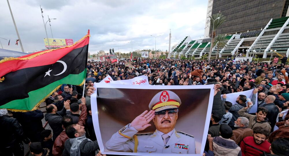 Libyan protesters gather during a demonstration against the Turkish parliament's decision to send Turkish forces to Libya, in Benghazi, Libya January 3, 2020.