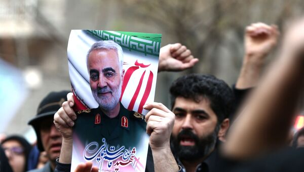 Iranian demonstrators chant slogans during a protest against the assassination of the Iranian Major-General Qassem Soleimani, head of the elite Quds Force, and Iraqi militia commander Abu Mahdi al-Muhandis, who were killed in an air strike at Baghdad airport, in front of United Nation office in Tehran, Iran January 3, 2020. - Sputnik International