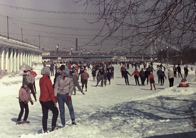 Kids and adults take to the ice at the skating rink in Moscow's Gorky Park