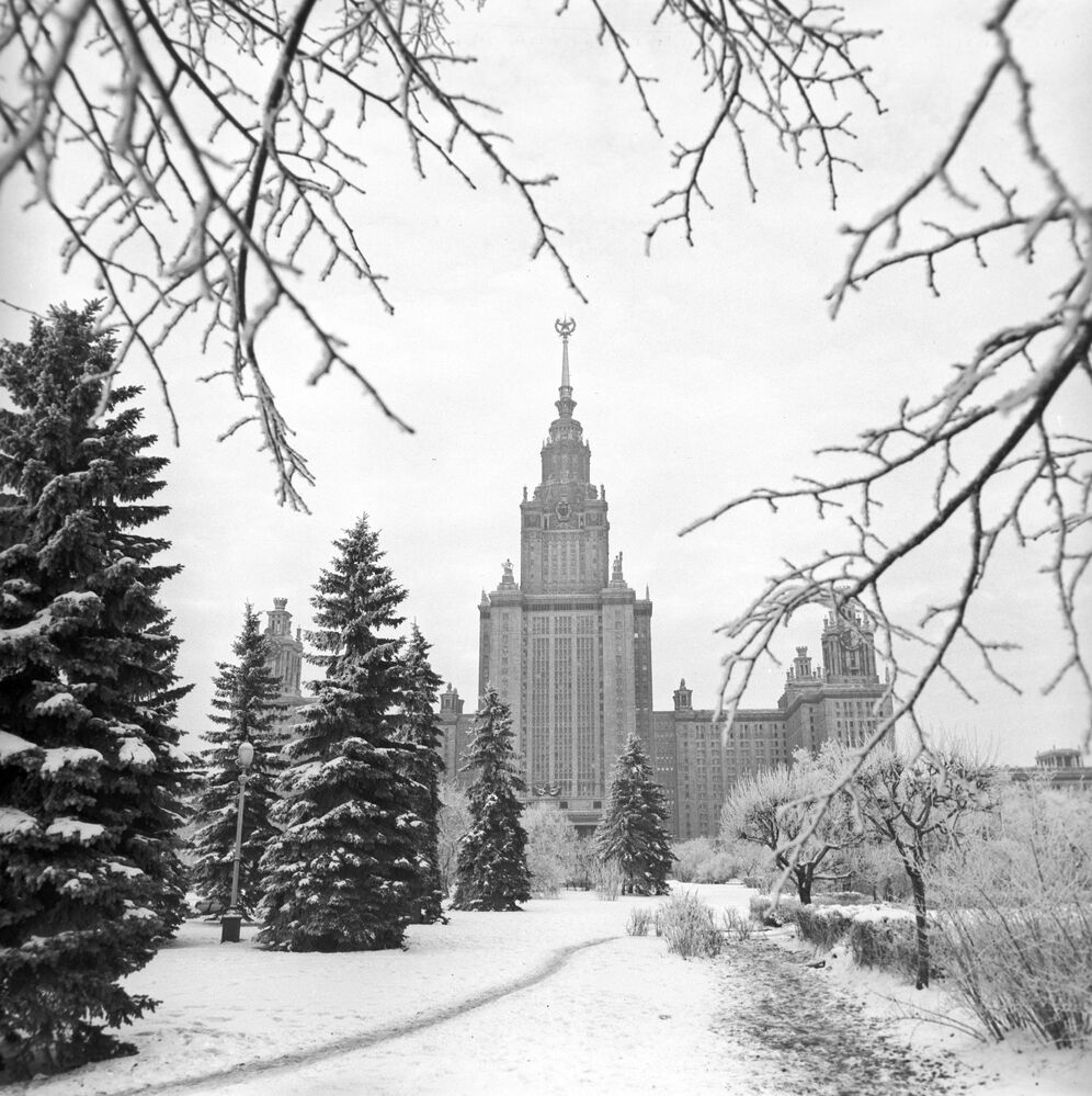 A view of the main building on the campus of Moscow State University
