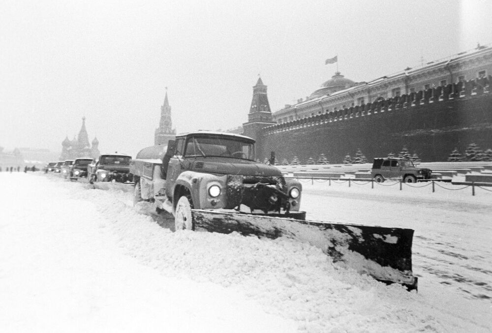 Moscow's streets are cleaned after a snowfall