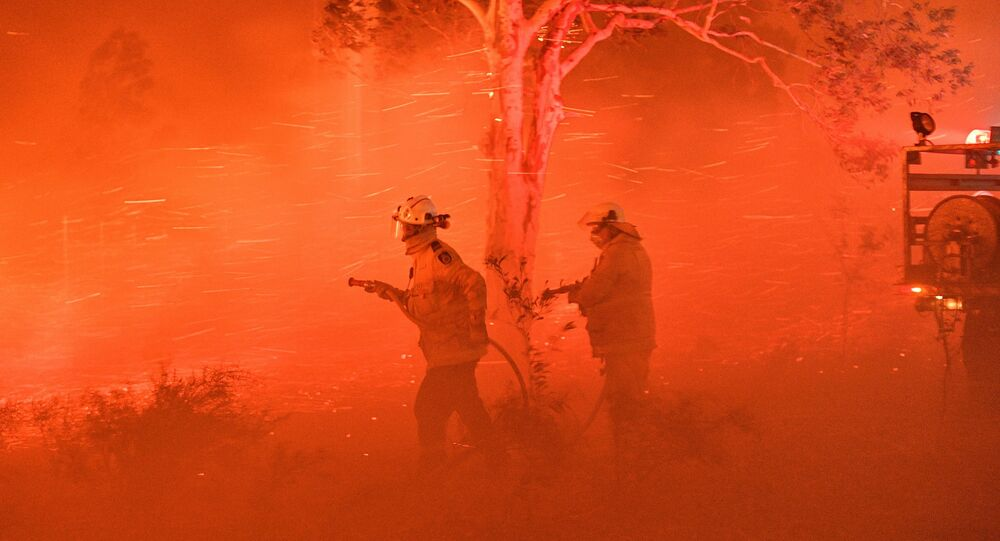 This picture taken on December 31, 2019 shows firefighters struggling against strong winds and flying embers in an effort to secure nearby houses from bushfires near the town of Nowra in the Australian state of New South Wales.