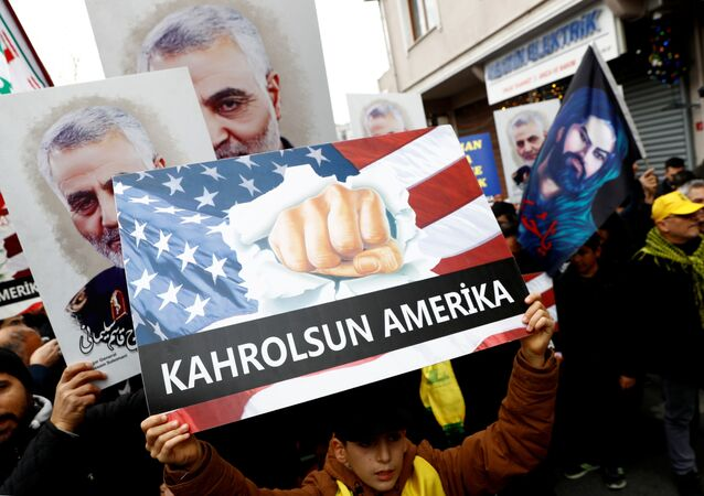Demonstrators outside the US Consulate in Istanbul, Turkey express outrage at the killing of Iranian Major-General Qassem Soleimani, head of the elite Quds Force, who died in a drone strike on Baghdad International Airport, 5 January 2020. REUTERS/Murad Sezer
