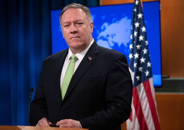 In this file photo taken on December 11, 2019 US Secretary of State Mike Pompeo holds a press conference at the State Department in Washington, DC.