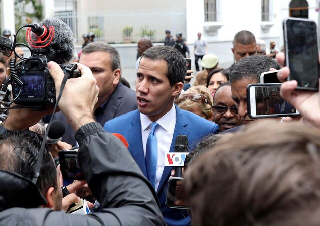 Venezuelan opposition leader Juan Guaido, who many nations have recognised as the country's rightful interim ruler, speaks to reporters outside Venezuela's National Assembly building in Caracas in Caracas, Venezuela January 5, 2020.