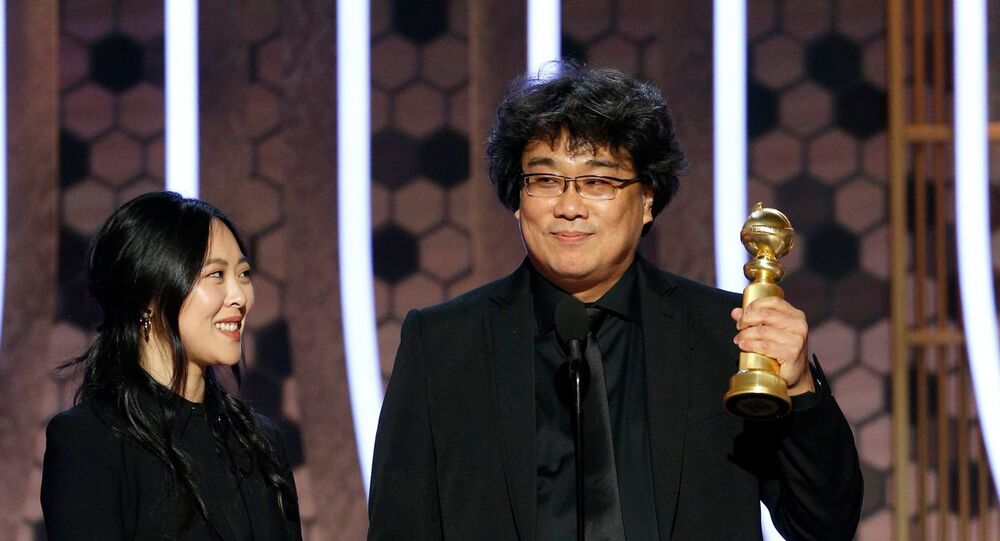 Bong Joon Ho accepts the award for Best Motion Picture, Foreign Language for Parasite.
