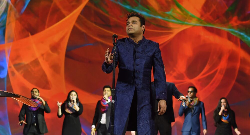 LAS VEGAS, NV - JANUARY 05: Composer A.R. Rahman performs during a keynote address by Intel Corp. CEO Brian Krzanich at CES 2016 at The Venetian Las Vegas on January 5, 2016 in Las Vegas, Nevada.