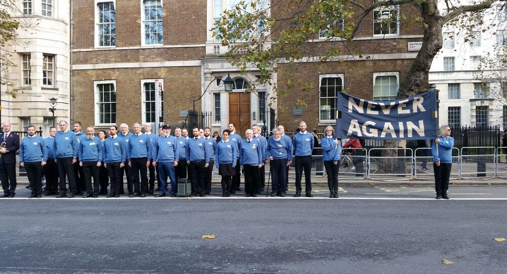Veterans for Peace UK stand across from Cenotaph 10 Nov 2019-min