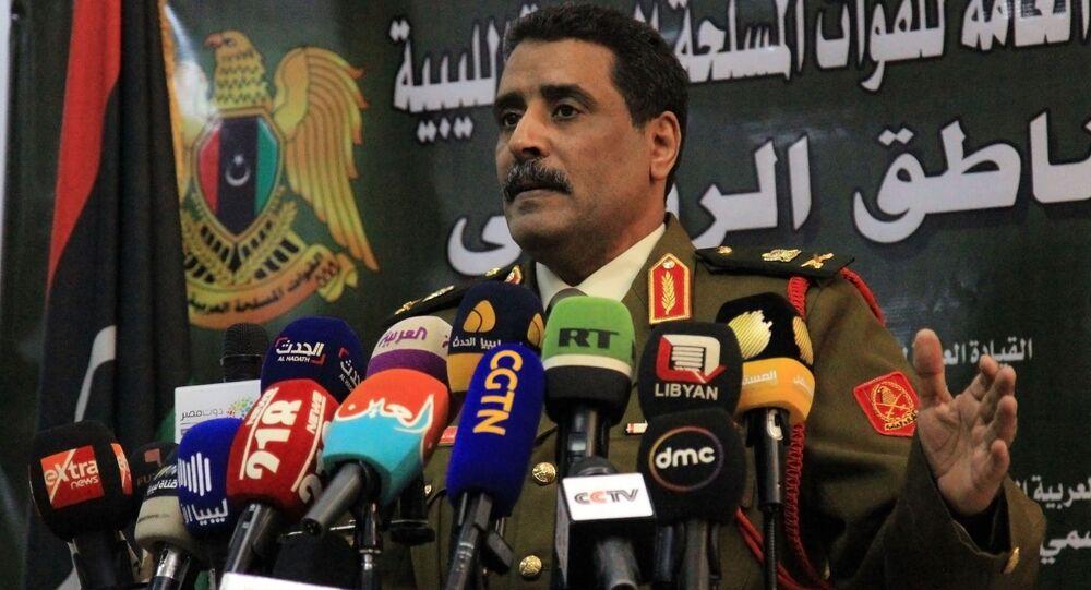 Ahmad al-Mesmari, spokesman for Haftar's forces, addresses the media in the eastern Libyan city of Benghazi on January 6, 2020.