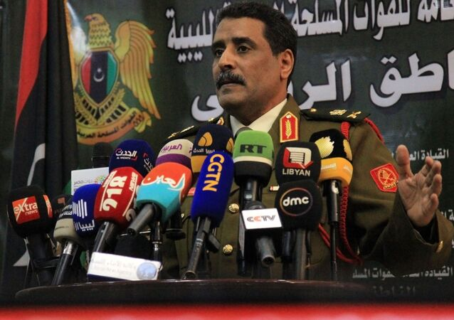 Ahmad al-Mesmari, spokesman for Haftar's forces, addresses the media in the eastern Libyan city of Benghazi on January 6, 2020.