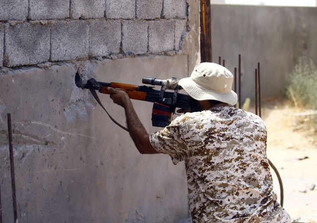 A fighter loyal to the internationally recognised Libyan Government of National Accord (GNA) in the capital Tripoli's suburb of Ain Zara