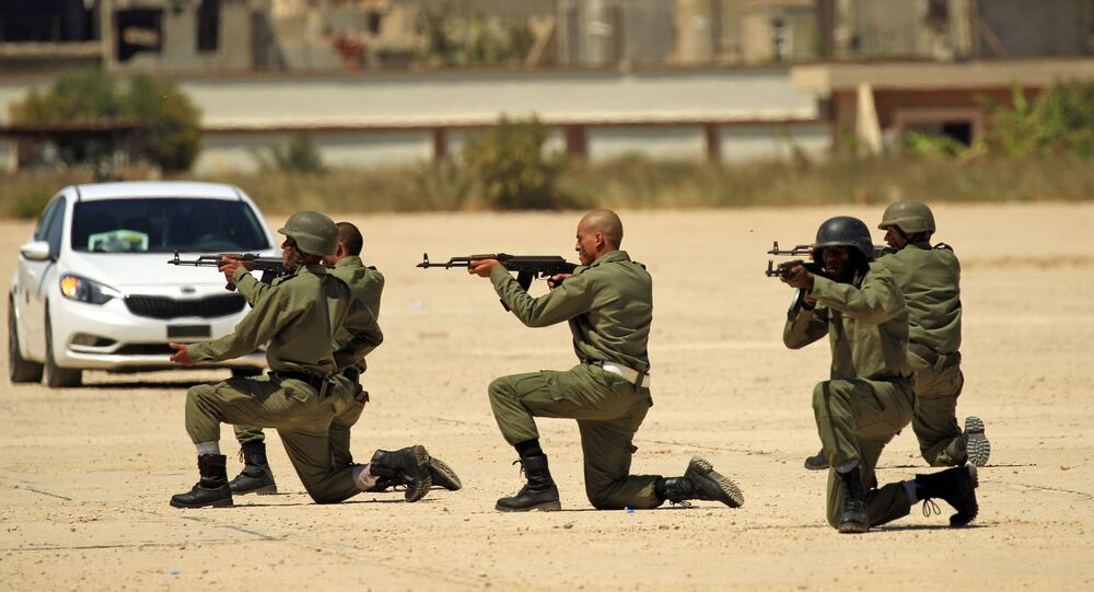 Fighters from the self-proclaimed Libyan National Army at a military academy in Libya's eastern city of Benghazi