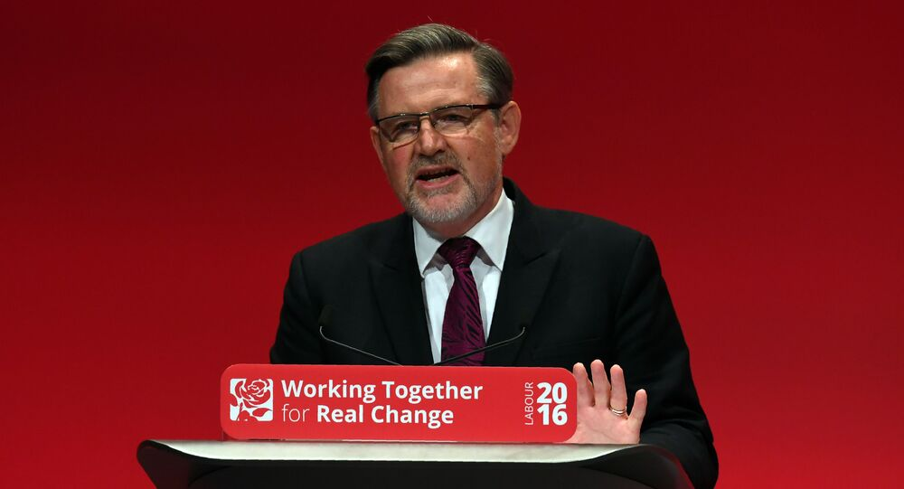 Shadow Secretary of State for International Trade Barry Gardiner speaks on the second day of the Labour Party Conference in Liverpool, north west England on September 26, 2016