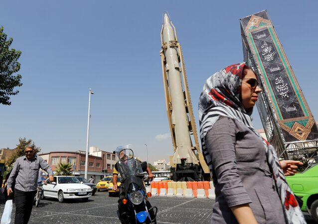 A Shahab-3 surface-to-surface missile is pictured on display in a street exhibition by Iran's army and paramilitary Revolutionary Guard celebrating  Defence Week marking the 39th anniversary of the start of 1980-88 Iran-Iraq war, at the Baharestan Square in Tehran, on September 26 2019