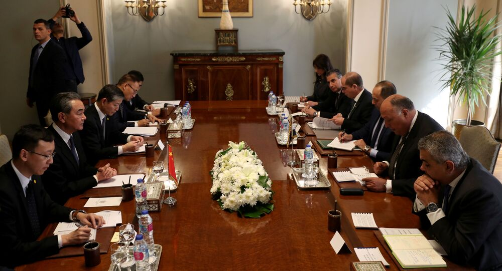 Chinese foreign minister Wang Yi meets with his Egyptian counterpart Sameh Shoukry in Cairo, Egypt January 8, 2020