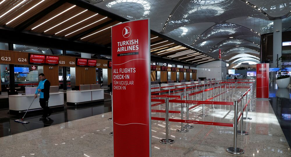 A Turkish Airlines counter is pictured at the departure terminal of the Istanbul International Airport in Istanbul, Turkey, April 3, 2019