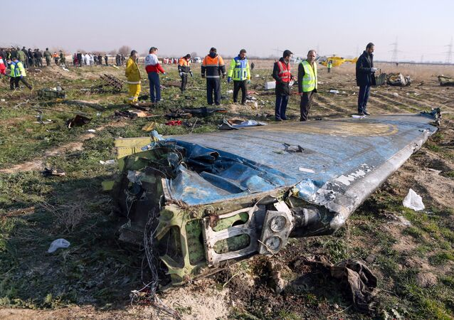 Rescue teams are seen on 8 January 2020 looking through what remains of of a Ukrainian airliner that crashed shortly after take-off near Imam Khomeini airport in the Iranian capital Tehran